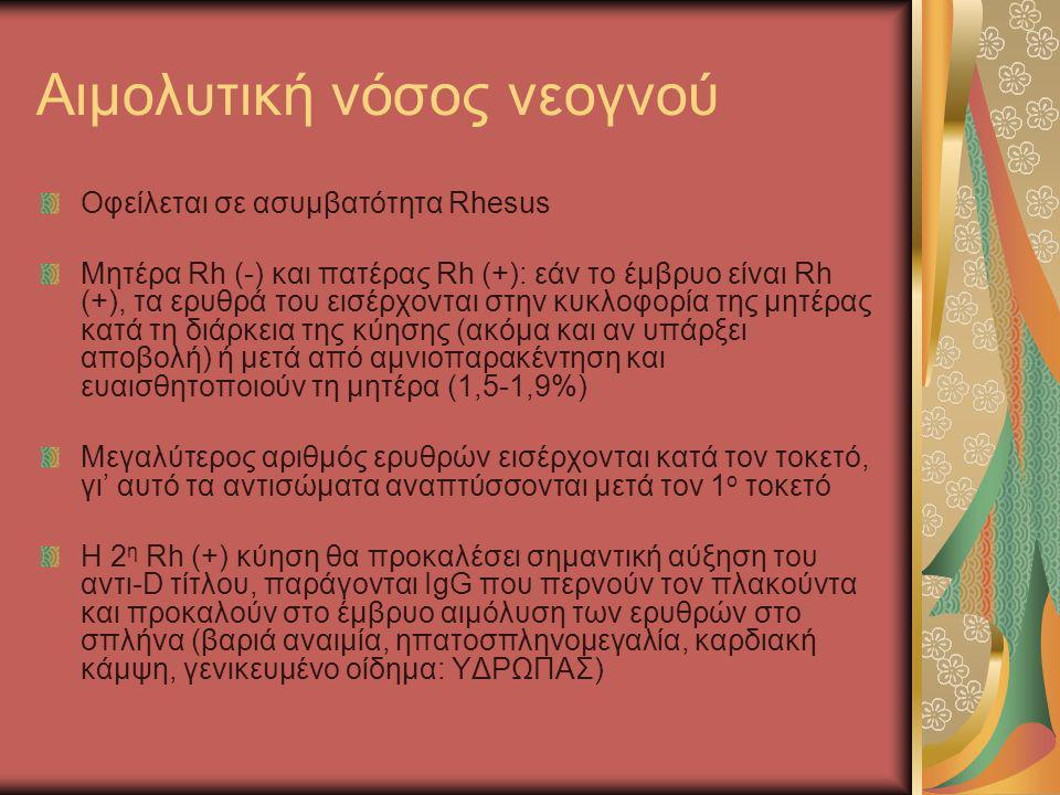 Αιμολυτική νόσος νεογνού Οφείλεται σε ασυμβατότητα Rhesus Mητέρα Rh (-) και πατέρας Rh (+): εάν το έμβρυο είναι Rh (+), τα ερυθρά του εισέρχονται στην
