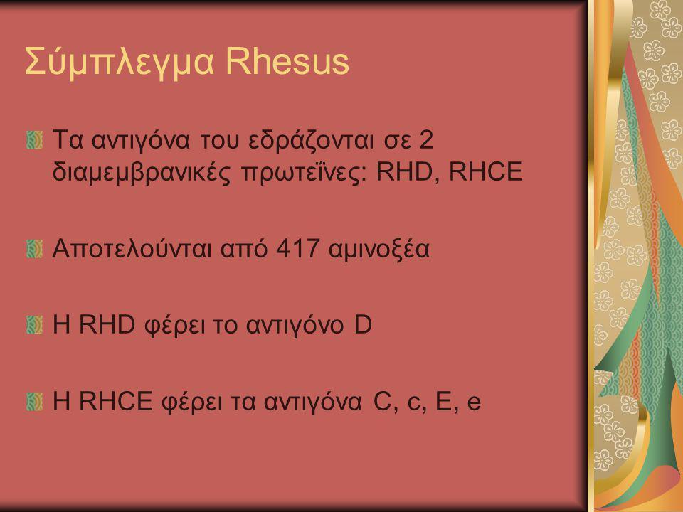 Σύμπλεγμα Rhesus Τα αντιγόνα του εδράζονται σε 2 διαμεμβρανικές πρωτεΐνες: RHD, RHCE Αποτελούνται από 417 αμινοξέα H RHD φέρει το αντιγόνο D Η RHCE φέ