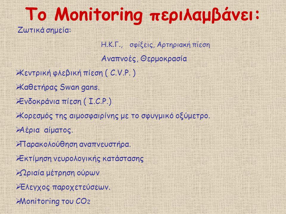 Το Monitoring περιλαμβάνει: Ζωτικά σημεία: Η.Κ.Γ.,σφίξεις, Αρτηριακή πίεση Αναπνοές, Θερμοκρασία  Κεντρική φλεβική πίεση ( C.V.P. )  Καθετήρας Swan
