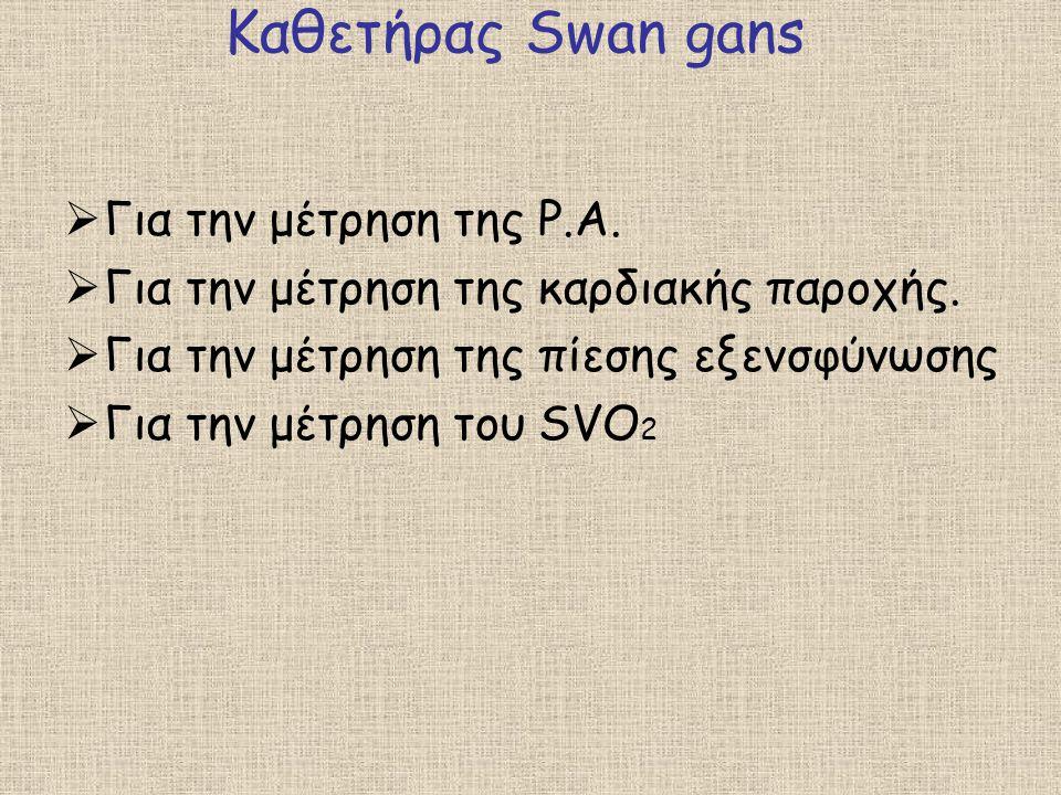 Καθετήρας Swan gans  Για την μέτρηση της P.A.  Για την μέτρηση της καρδιακής παροχής.  Για την μέτρηση της πίεσης εξενσφύνωσης  Για την μέτρηση το