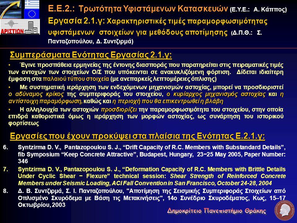 Συμπεράσματα Ενότητας Εργασίας 2.1.γ: Έγινε προσπάθεια ερμηνείας της έντονης διασποράς που παρατηρείται στις πειραματικές τιμές των αντοχών των στοιχε