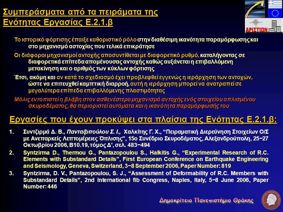 """Εργασίες που έχουν προκύψει στα πλαίσια της Ενότητας Ε.2.1.β: 1. 1.Συντζιρμά Δ. Β., Πανταζοπούλου Σ. Ι., Χαλκίτης Γ. Χ., """"Πειραματική Διερεύνηση Στοιχ"""