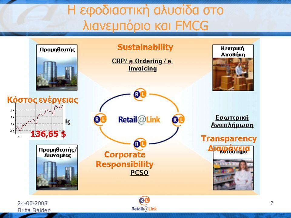 24-06-2008 Britta Balden 7 Η εφοδιαστική αλυσίδα στο λιανεμπόριο και FMCG Transparency Διαφάνεια Κόστος ενέργειας 136,65 $ Sustainability Corporate Re