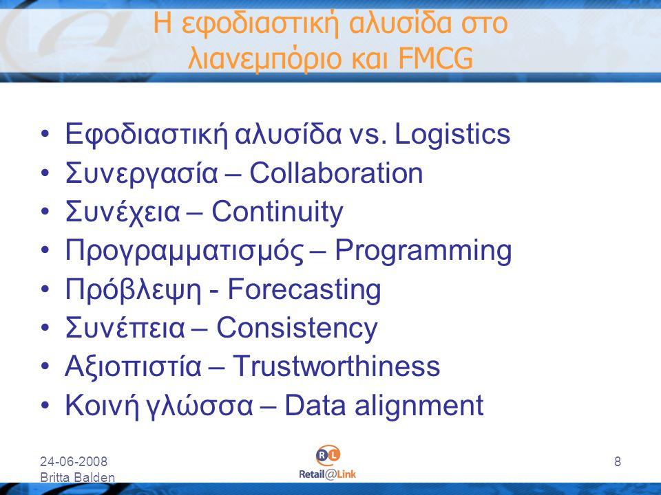 24-06-2008 Britta Balden 8 Η εφοδιαστική αλυσίδα στο λιανεμπόριο και FMCG Εφοδιαστική αλυσίδα vs. Logistics Συνεργασία – Collaboration Συνέχεια – Cont