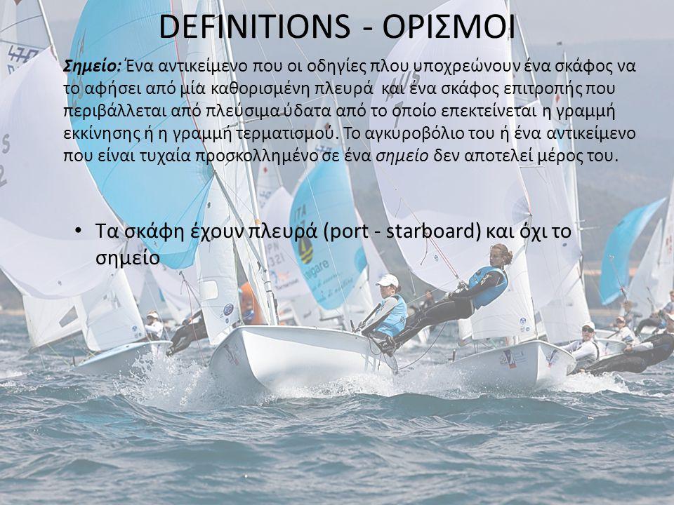 DEFINITIONS - ΟΡΙΣΜΟΙ Σημείο: Ένα αντικείμενο που οι οδηγίες πλου υποχρεώνουν ένα σκάφος να το αφήσει από μία καθορισμένη πλευρά και ένα σκάφος επιτρο