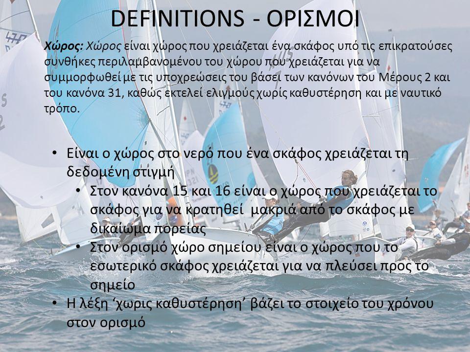 DEFINITIONS - ΟΡΙΣΜΟΙ Χώρος: Χώρος είναι χώρος που χρειάζεται ένα σκάφος υπό τις επικρατούσες συνθήκες περιλαμβανομένου του χώρου που χρειάζεται για ν