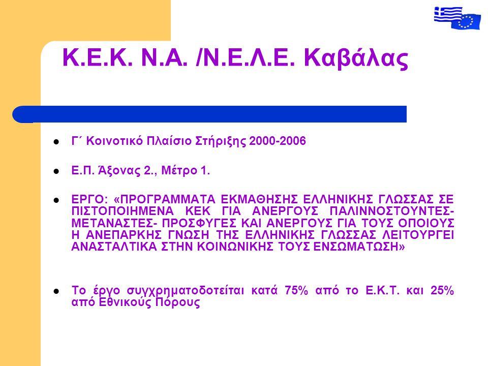 Κ.Ε.Κ. Ν.Α. /Ν.Ε.Λ.Ε. Καβάλας Γ΄ Κοινοτικό Πλαίσιο Στήριξης 2000-2006 Ε.Π.
