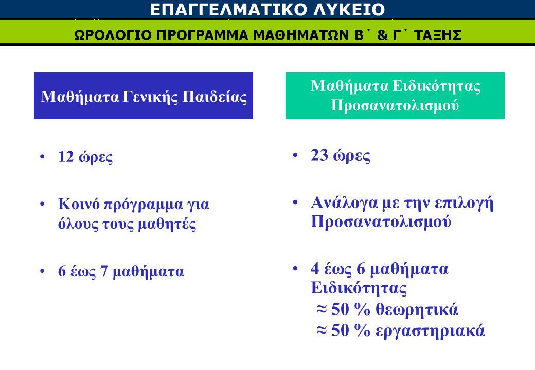 Μαθήματα Γενικής Παιδείας Μαθήματα Ειδικότητας Προσανατολισμού 12 ώρες Κοινό πρόγραμμα για όλους τους μαθητές 6 έως 7 μαθήματα 23 ώρες Ανάλογα με την επιλογή Προσανατολισμού 4 έως 6 μαθήματα Ειδικότητας ≈ 50 % θεωρητικά ≈ 50 % εργαστηριακά