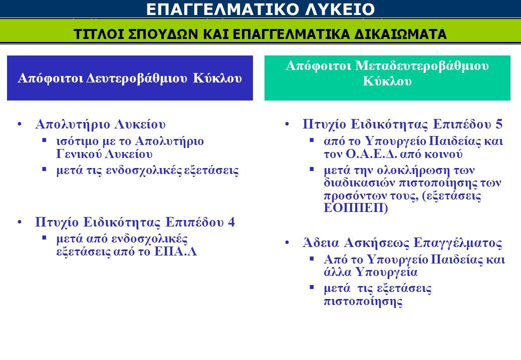ΕΠΑΓΓΕΛΜΑΤΙΚΟ ΛΥΚΕΙΟ Απόφοιτοι Δευτεροβάθμιου Κύκλου Απόφοιτοι Μεταδευτεροβάθμιου Κύκλου Πτυχίο Ειδικότητας Επιπέδου 5  από το Υπουργείο Παιδείας και