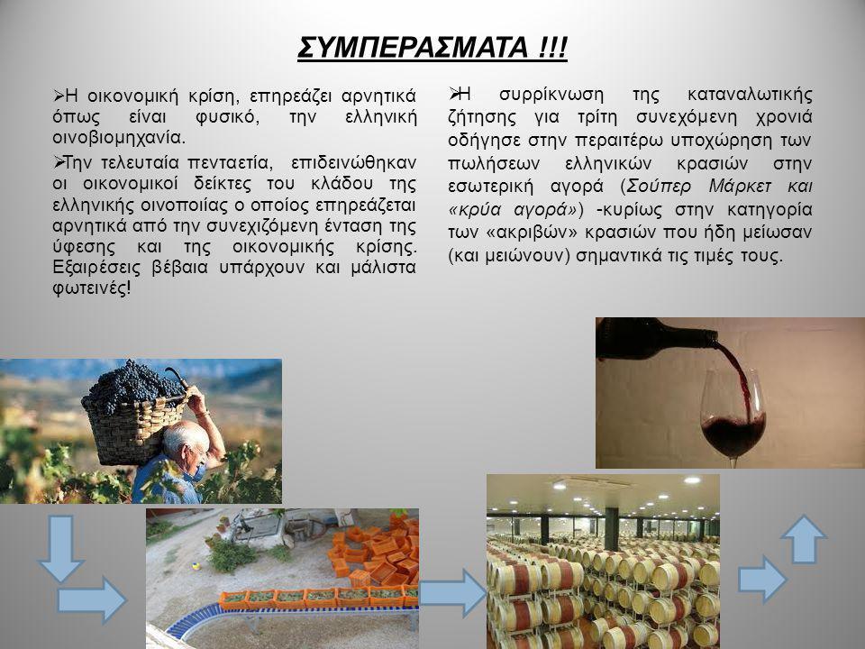 ΣΥΜΠΕΡΑΣΜΑΤΑ !!!  Η οικονομική κρίση, επηρεάζει αρνητικά όπως είναι φυσικό, την ελληνική οινοβιομηχανία.  Την τελευταία πενταετία, επιδεινώθηκαν οι