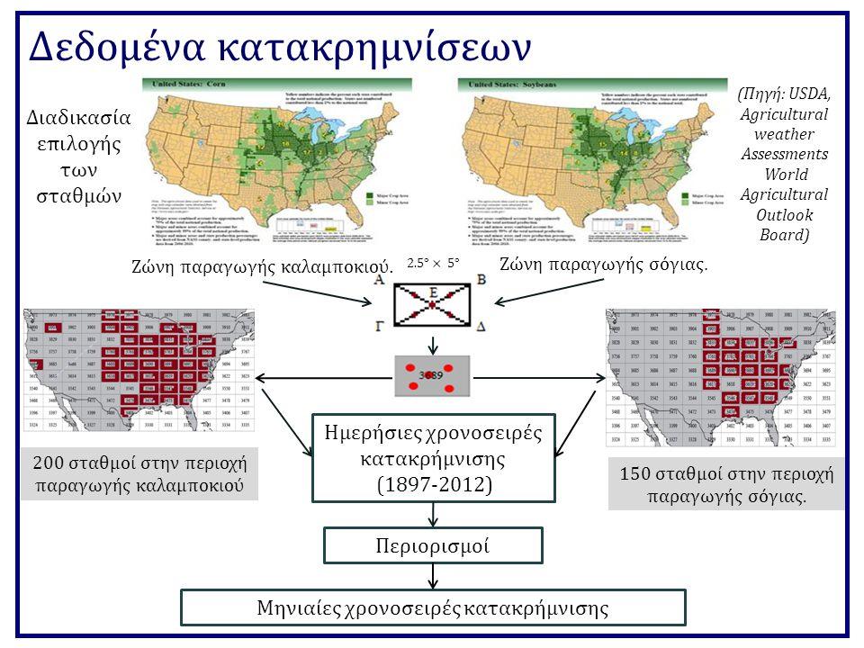 Δεδομένα κατακρημνίσεων Περιορισμοί Διαδικασία επιλογής των σταθμών Ζώνη παραγωγής καλαμποκιού.
