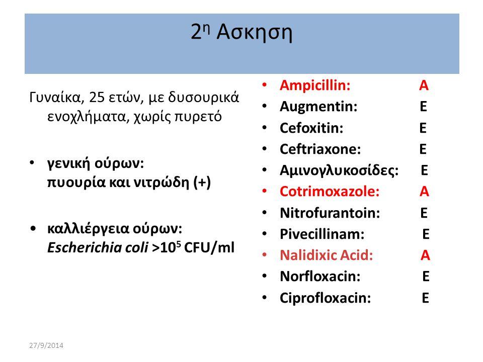 27/9/2014 Γυναίκα, 25 ετών, με δυσουρικά ενοχλήματα, χωρίς πυρετό γενική ούρων: πυουρία και νιτρώδη (+) καλλιέργεια ούρων: Escherichia coli >10 5 CFU/