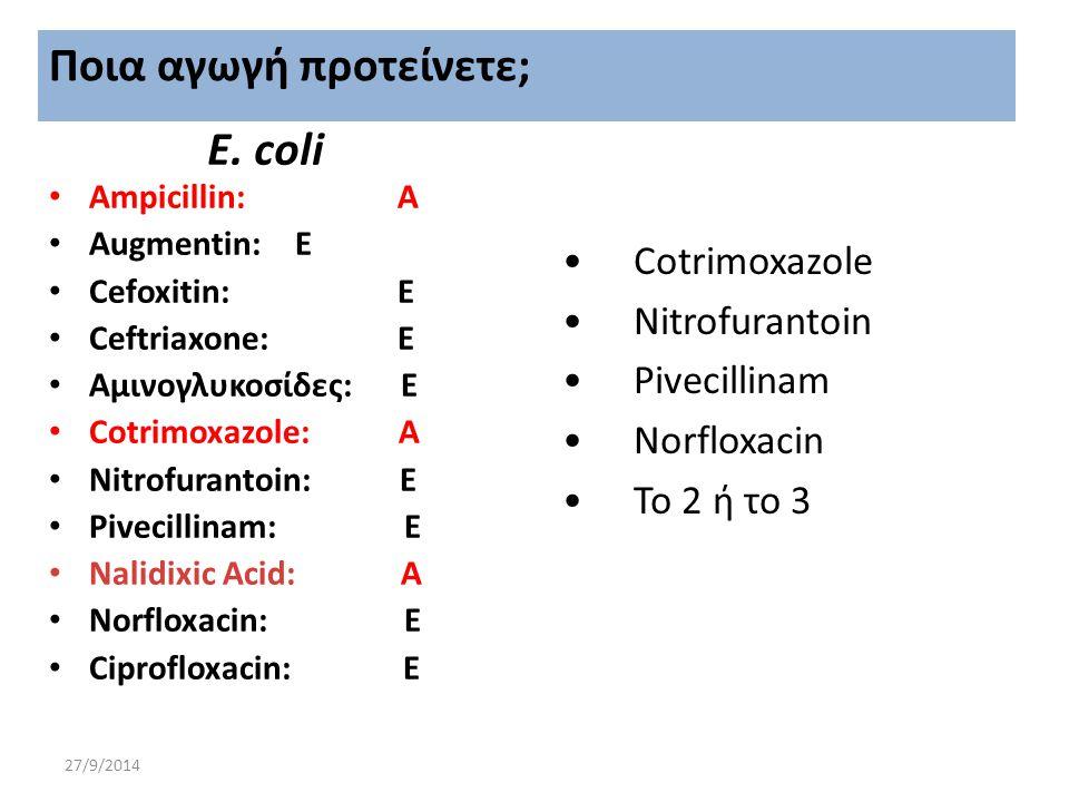 27/9/2014 Ε. coli Αmpicillin: A Augmentin: E Cefoxitin: E Ceftriaxone: Ε Αμινογλυκοσίδες: Ε Cotrimoxazole: Α Nitrofurantoin: E Pivecillinam: E Nalidix