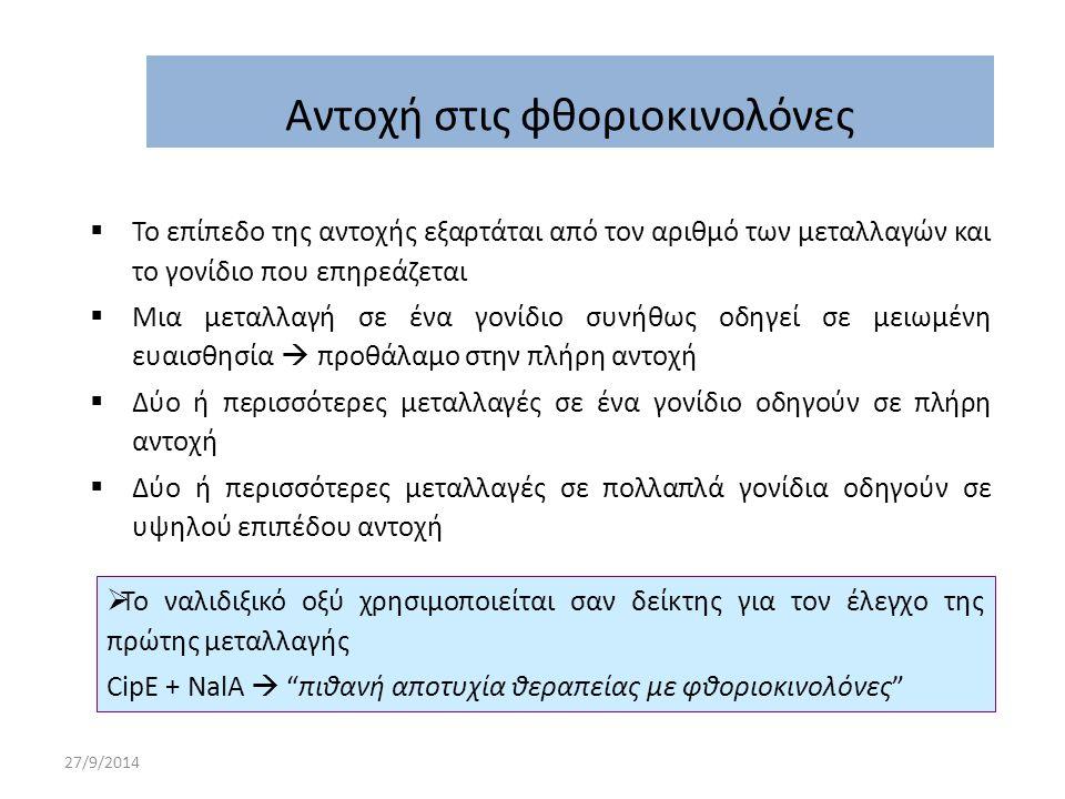 27/9/2014  Το επίπεδο της αντοχής εξαρτάται από τον αριθμό των μεταλλαγών και το γονίδιο που επηρεάζεται  Μια μεταλλαγή σε ένα γονίδιο συνήθως οδηγε