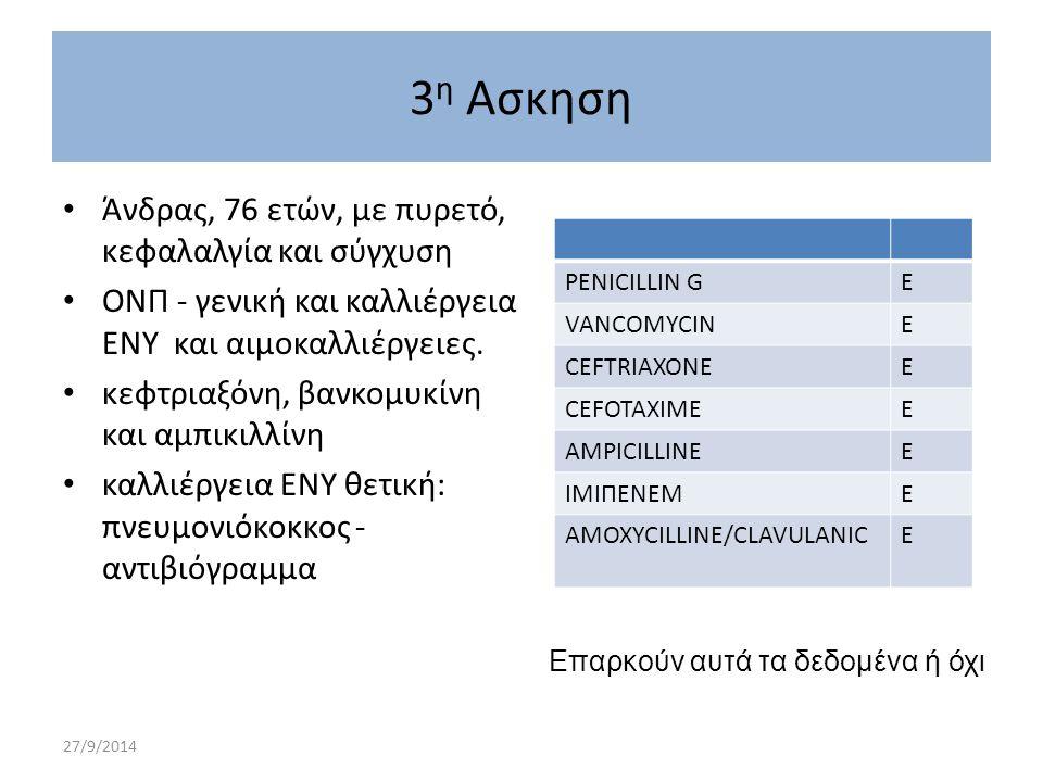 27/9/2014 3 η Ασκηση Άνδρας, 76 ετών, με πυρετό, κεφαλαλγία και σύγχυση ΟΝΠ - γενική και καλλιέργεια ΕΝΥ και αιμοκαλλιέργειες. κεφτριαξόνη, βανκομυκίν