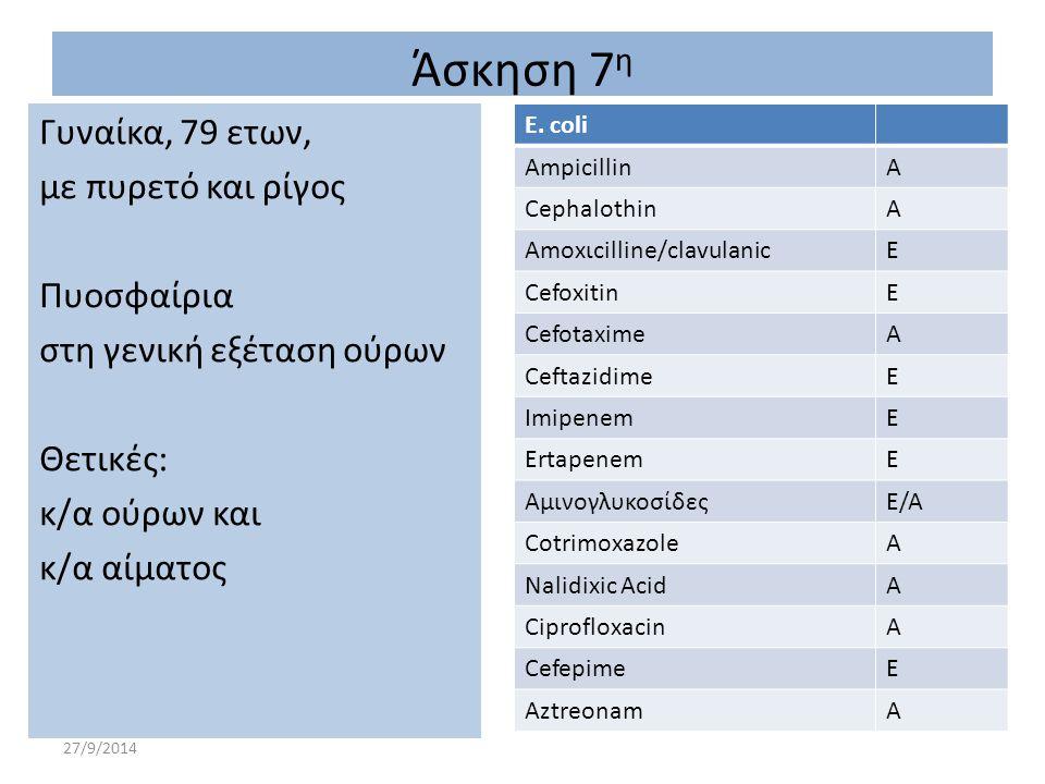 27/9/2014 E. coli ΑmpicillinA CephalothinA Αmoxιcilline/clavulanicΕ CefoxitinΕ CefotaximeA CeftazidimeΕ ImipenemΕ ErtapenemE ΑμινογλυκοσίδεςE/A Cotrim