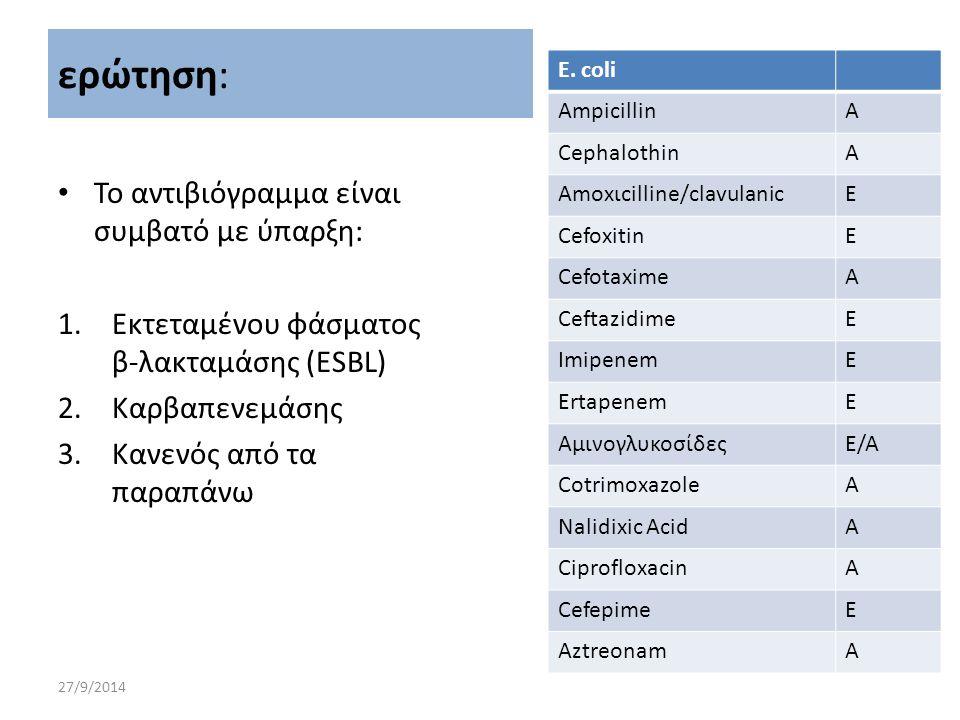 27/9/2014 Το αντιβιόγραμμα είναι συμβατό με ύπαρξη: 1.Εκτεταμένου φάσματος β-λακταμάσης (ESBL) 2.Καρβαπενεμάσης 3.Κανενός από τα παραπάνω ερώτηση: E.