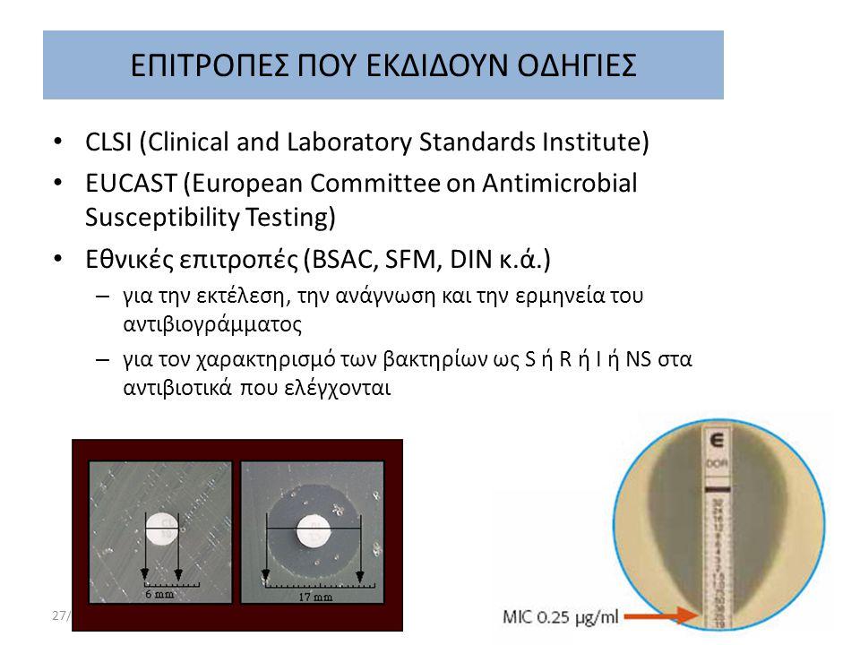 27/9/2014 Πνευμονιοκοκκική μηνιγγίτιδα Απαιτείται υπολογισμός των MIC της πενικιλίνης και της κεφτριαξόνης στα στελέχη που απομονώνονται στην καλλιέργεια ΕΝΥ (ή/και στην αιμοκαλλιέργεια) Η τιμή των MICs θα καθορίσει την αγωγή – MIC < 0.12 : πενικιλίνη – MIC= 0,12-1 : κεφτριαξόνη ή κεφοταξίμη σε MIC κεφτριαξόνης > 0.5: στην κεφτριαξόνη προστίθεται βανκομυκίνη