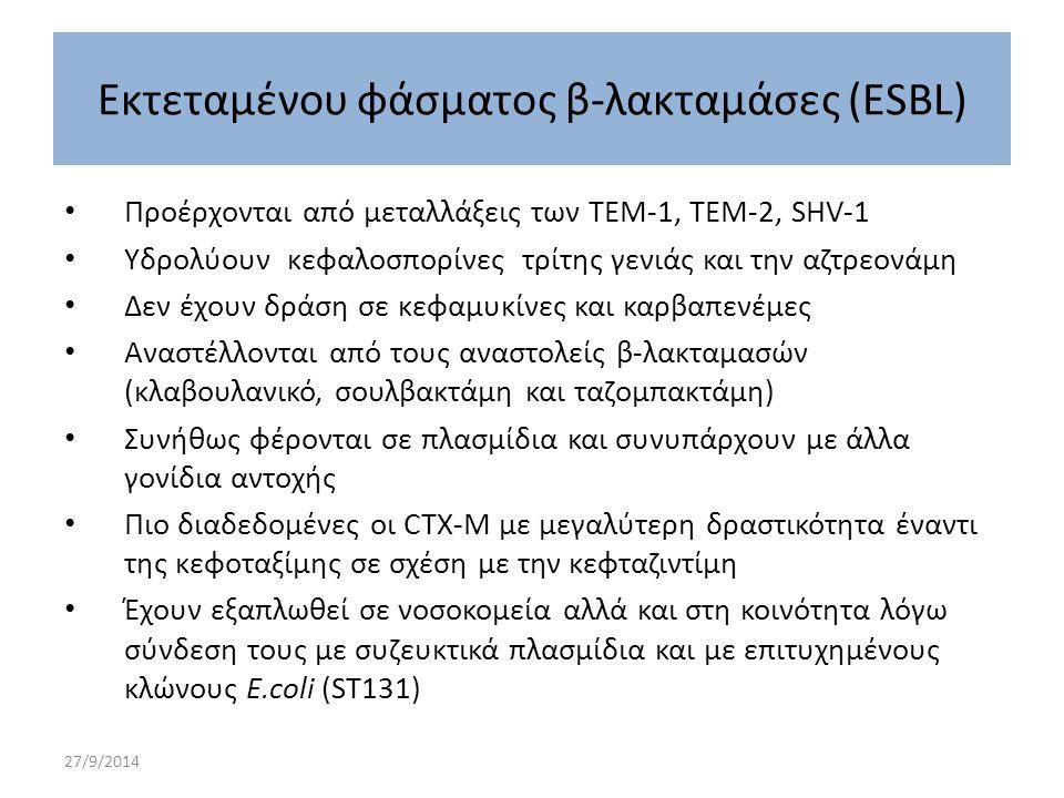 27/9/2014 Προέρχονται από μεταλλάξεις των TEM-1, TEM-2, SHV-1 Υδρολύουν κεφαλοσπορίνες τρίτης γενιάς και την αζτρεονάμη Δεν έχουν δράση σε κεφαμυκίνες