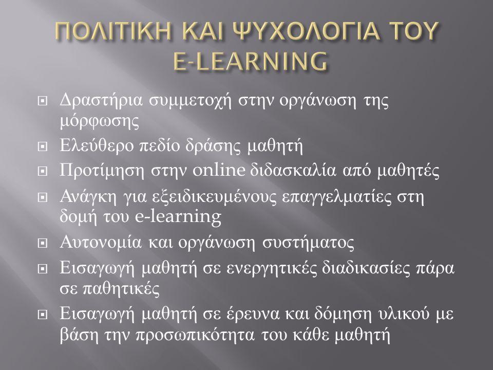  Δραστήρια συμμετοχή στην οργάνωση της μόρφωσης  Ελεύθερο πεδίο δράσης μαθητή  Προτίμηση στην online διδασκαλία από μαθητές  Ανάγκη για εξειδικευμένους επαγγελματίες στη δομή του e-learning  Αυτονομία και οργάνωση συστήματος  Εισαγωγή μαθητή σε ενεργητικές διαδικασίες πάρα σε παθητικές  Εισαγωγή μαθητή σε έρευνα και δόμηση υλικού με βάση την προσωπικότητα του κάθε μαθητή