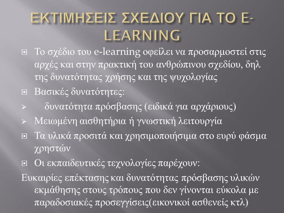 Το σχέδιο του e-learning οφείλει να προσαρμοστεί στις αρχές και στην πρακτική του ανθρώπινου σχεδίου, δηλ της δυνατότητας χρήσης και της ψυχολογίας  Βασικές δυνατότητες :  δυνατότητα πρόσβασης ( ειδικά για αρχάριους )  Μειωμένη αισθητήρια ή γνωστική λειτουργία  Τα υλικά προσιτά και χρησιμοποιήσιμα στο ευρύ φάσμα χρηστών  Οι εκπαιδευτικές τεχνολογίες παρέχουν : Ευκαιρίες επέκτασης και δυνατότητας πρόσβασης υλικών εκμάθησης στους τρόπους που δεν γίνονται εύκολα με παραδοσιακές προσεγγίσεις ( εικονικοί ασθενείς κτλ )