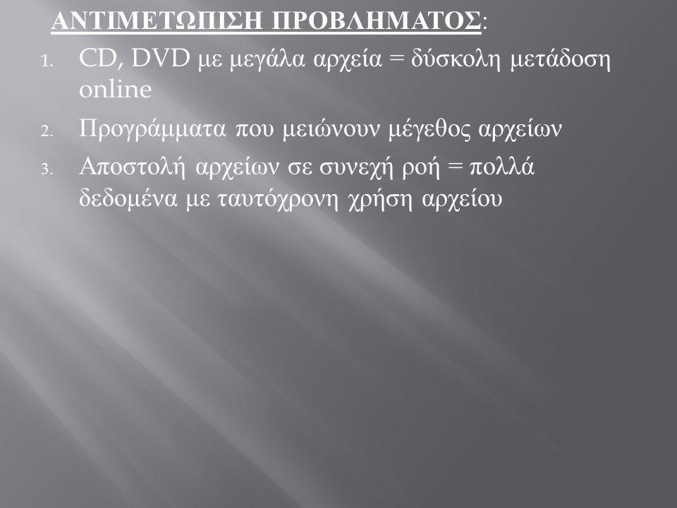 ΑΝΤΙΜΕΤΩΠΙΣΗ ΠΡΟΒΛΗΜΑΤΟΣ : 1.CD, DVD με μεγάλα αρχεία = δύσκολη μετάδοση online 2.