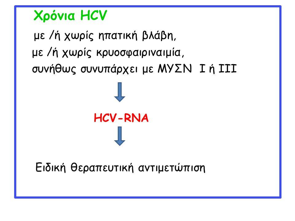 Χρόνια HCV με /ή χωρίς ηπατική βλάβη, με /ή χωρίς κρυοσφαιριναιμία, συνήθως συνυπάρχει με ΜΥΣΝ Ι ή ΙΙΙ HCV-RNA Ειδική θεραπευτική αντιμετώπιση