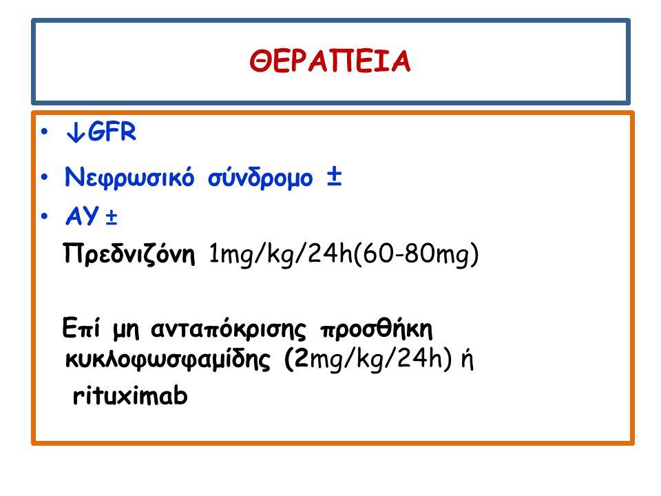 ΘΕΡΑΠΕΙΑ ↓ GFR Νεφρωσικό σύνδρομο ± ΑΥ ± Πρεδνιζόνη 1mg/kg/24h(60-80mg) Επί μη ανταπόκρισης προσθήκη κυκλοφωσφαμίδης (2mg/kg/24h) ή rituximab