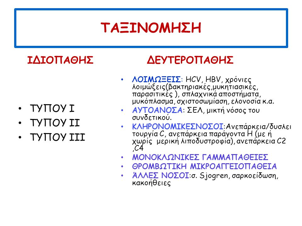 ΤΑΞΙΝΟΜΗΣΗ ΙΔΙΟΠΑΘΗΣ ΤΥΠΟΥ Ι ΤΥΠΟΥ ΙΙ ΤΥΠΟΥ ΙΙΙ ΔΕΥΤΕΡΟΠΑΘΗΣ ΛΟΙΜΩΞΕΙΣ: HCV, HBV, χρόνιες λοιμώξεις(βακτηριακές,μυκητιασικές, παρασιτικές ), σπλαχνικά