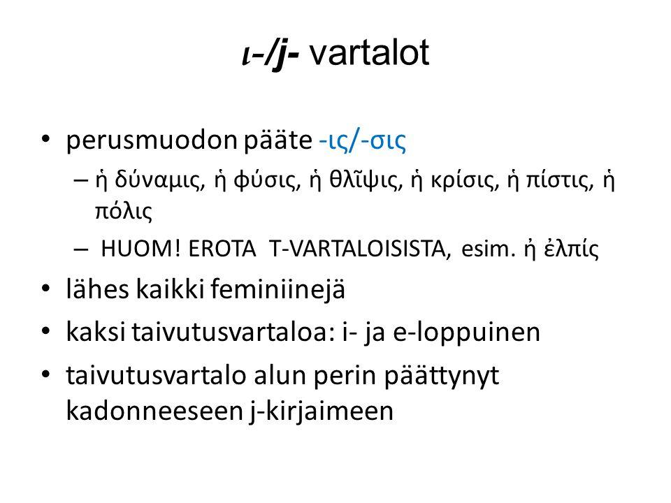 ι- /j- vartalot perusmuodon pääte -ις/-σις – ἡ δύναμις, ἡ φύσις, ἡ θλῖψις, ἡ κρίσις, ἡ πίστις, ἡ πόλις – HUOM.