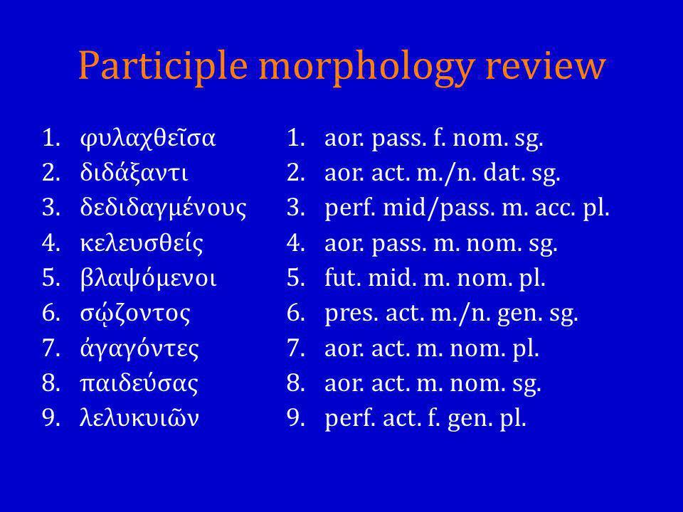 Participle morphology review 1.φυλαχθεῖσα 2.διδάξαντι 3.δεδιδαγμένους 4.κελευσθείς 5.βλαψόμενοι 6.σῴζοντος 7.ἀγαγόντες 8.παιδεύσας 9.λελυκυιῶν 1.aor.