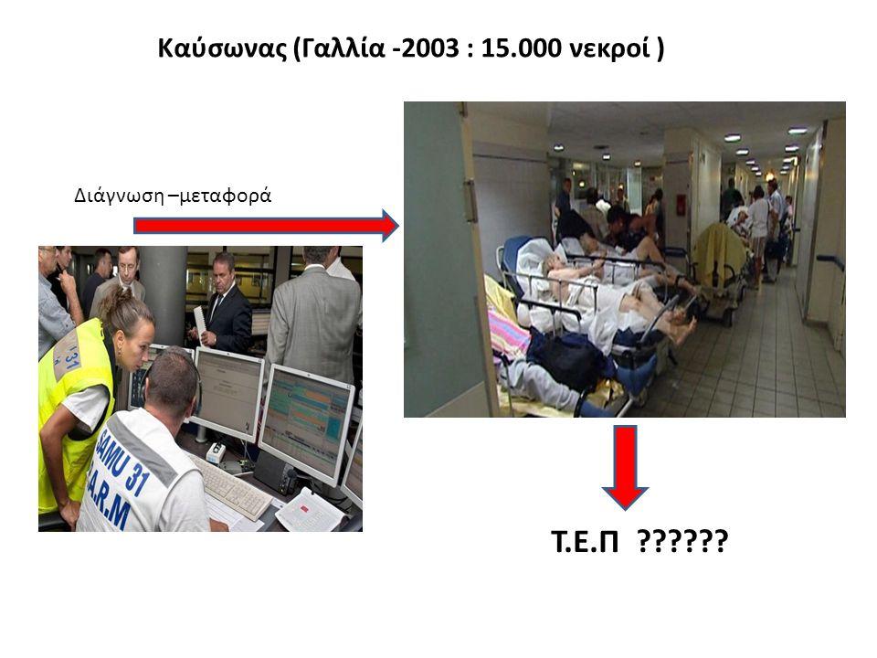 Καύσωνας (Γαλλία -2003 : 15.000 νεκροί ) Διάγνωση –μεταφορά Τ.Ε.Π