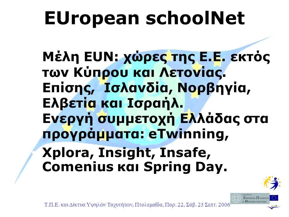 Τ.Π.Ε. και Δίκτυα Υψηλών Ταχυτήτων, Πτολεμαΐδα, Παρ. 22, Σάβ. 23 Σεπτ. 2006 Μέλη EUN: χώρες της E.E. εκτός των Κύπρου και Λετονίας. Επίσης, Ισλανδία,
