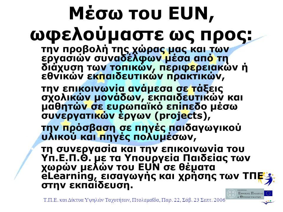 Τ.Π.Ε. και Δίκτυα Υψηλών Ταχυτήτων, Πτολεμαΐδα, Παρ. 22, Σάβ. 23 Σεπτ. 2006 Μέσω του EUN, ωφελούμαστε ως προς: την προβολή της χώρας μας και των εργασ