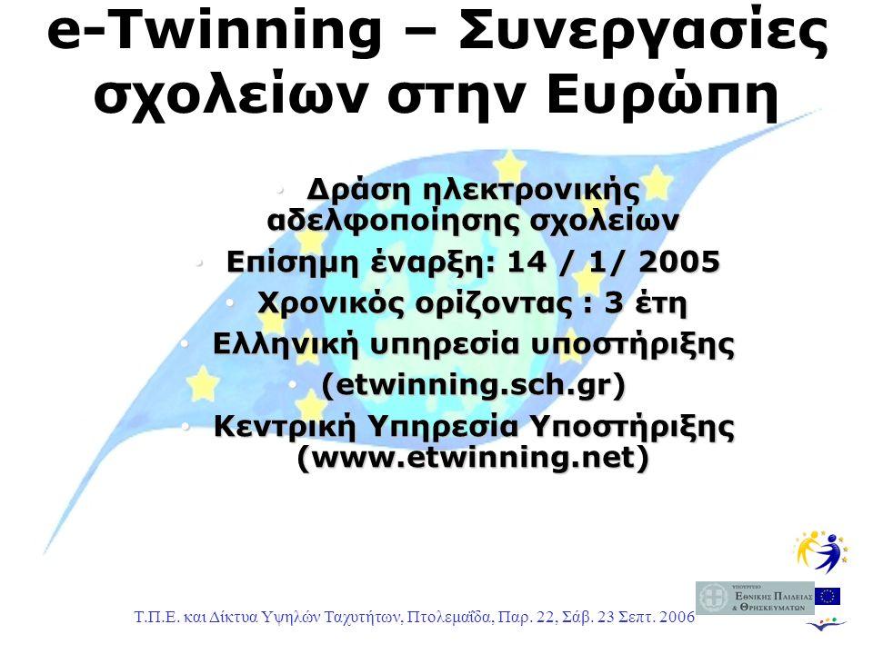 Τ.Π.Ε. και Δίκτυα Υψηλών Ταχυτήτων, Πτολεμαΐδα, Παρ. 22, Σάβ. 23 Σεπτ. 2006 e-Twinning – Συνεργασίες σχολείων στην Ευρώπη Δράση ηλεκτρονικής αδελφοποί