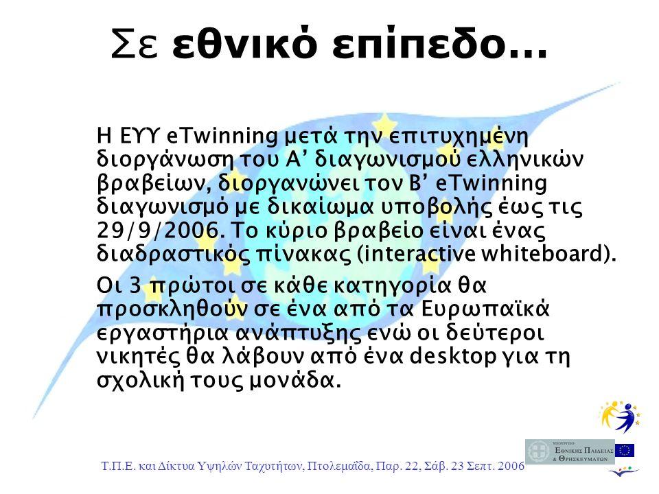 Τ.Π.Ε. και Δίκτυα Υψηλών Ταχυτήτων, Πτολεμαΐδα, Παρ. 22, Σάβ. 23 Σεπτ. 2006 Σε εθνικό επίπεδο… Η ΕΥΥ eTwinning μετά την επιτυχημένη διοργάνωση του Α'