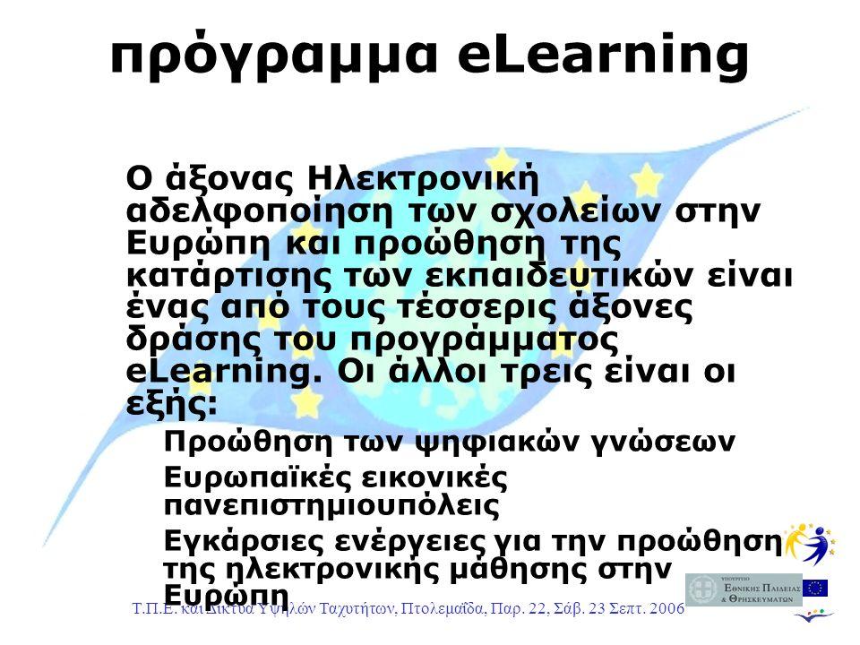 Τ.Π.Ε. και Δίκτυα Υψηλών Ταχυτήτων, Πτολεμαΐδα, Παρ. 22, Σάβ. 23 Σεπτ. 2006 πρόγραμμα eLearning Ο άξονας Ηλεκτρονική αδελφοποίηση των σχολείων στην Ευ