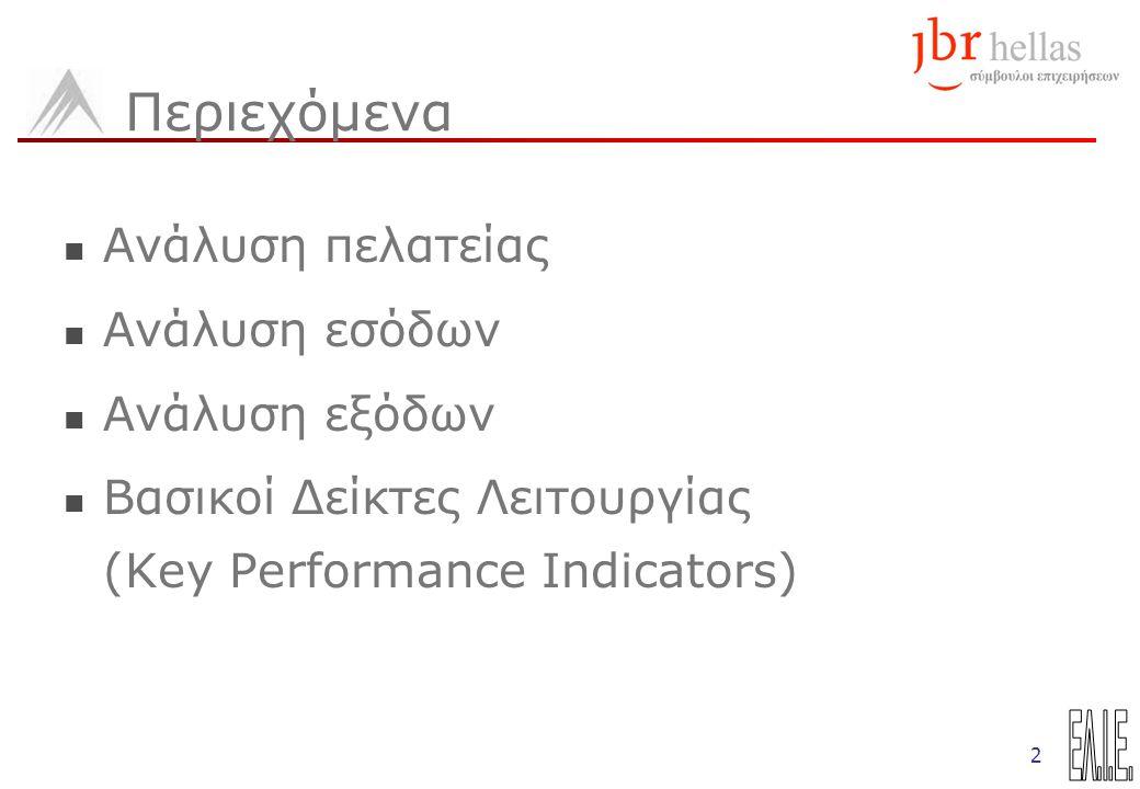 2 Περιεχόμενα Ανάλυση πελατείας Ανάλυση εσόδων Ανάλυση εξόδων Βασικοί Δείκτες Λειτουργίας (Key Performance Indicators)