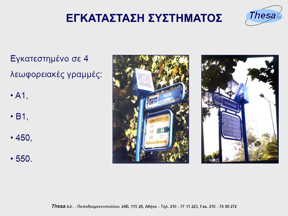 ΕΓΚΑΤΑΣΤΑΣΗ ΣΥΣΤΗΜΑΤΟΣ Thesa Α.Ε. - Παπαδιαμαντοπούλου 24Β, 115 28, Αθήνα - Τηλ.