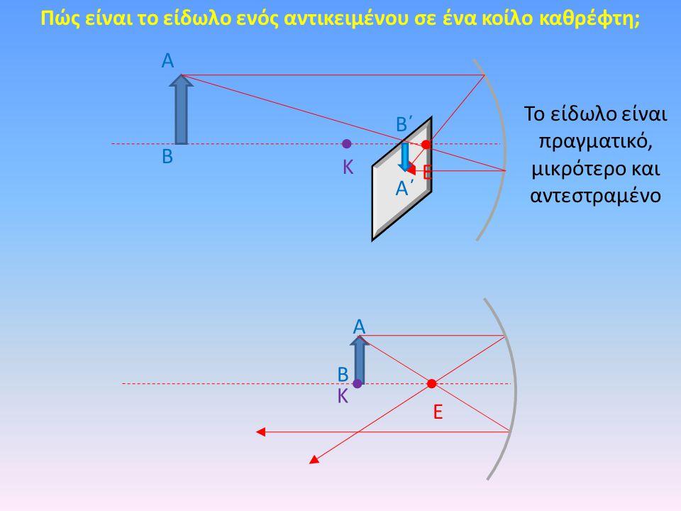 Πώς είναι το είδωλο ενός αντικειμένου σε ένα κοίλο καθρέφτη; Κ Ε Α Β Α΄ Β΄ Κ Ε Α Β Το είδωλο είναι πραγματικό, μικρότερο και αντεστραμένο