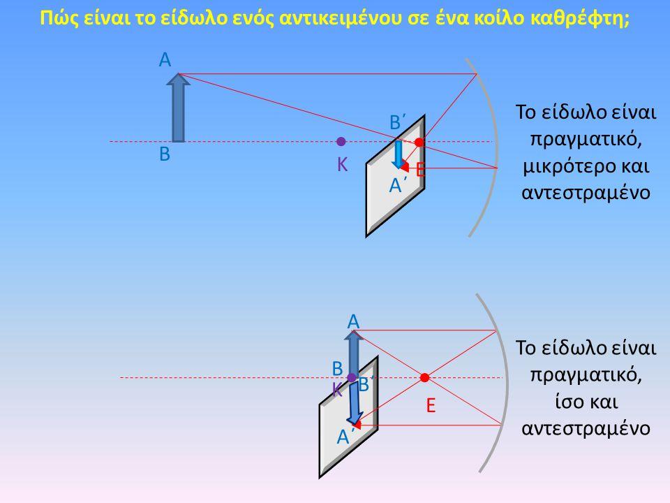 Πώς είναι το είδωλο ενός αντικειμένου σε ένα κοίλο καθρέφτη; Κ Ε Α Β Α΄ Β΄ Κ Ε Α Β Α΄ Β΄ Το είδωλο είναι πραγματικό, μικρότερο και αντεστραμένο Το είδ