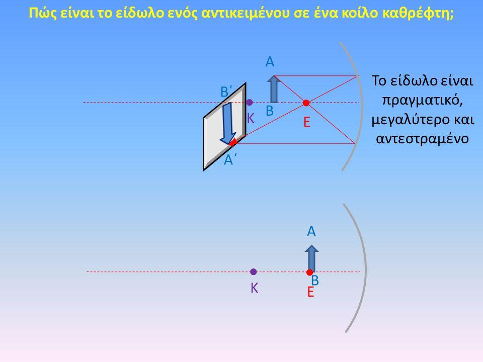 Πώς είναι το είδωλο ενός αντικειμένου σε ένα κοίλο καθρέφτη; Κ Ε Α Β Κ Ε Α Β Α΄ Β΄ Το είδωλο είναι πραγματικό, μεγαλύτερο και αντεστραμένο