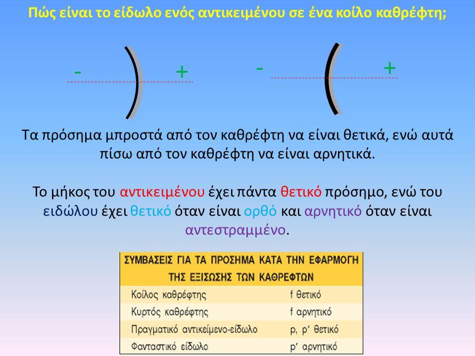 Πώς είναι το είδωλο ενός αντικειμένου σε ένα κοίλο καθρέφτη; + + - - Tα πρόσημα μπροστά από τον καθρέφτη να είναι θετικά, ενώ αυτά πίσω από τον καθρέφ