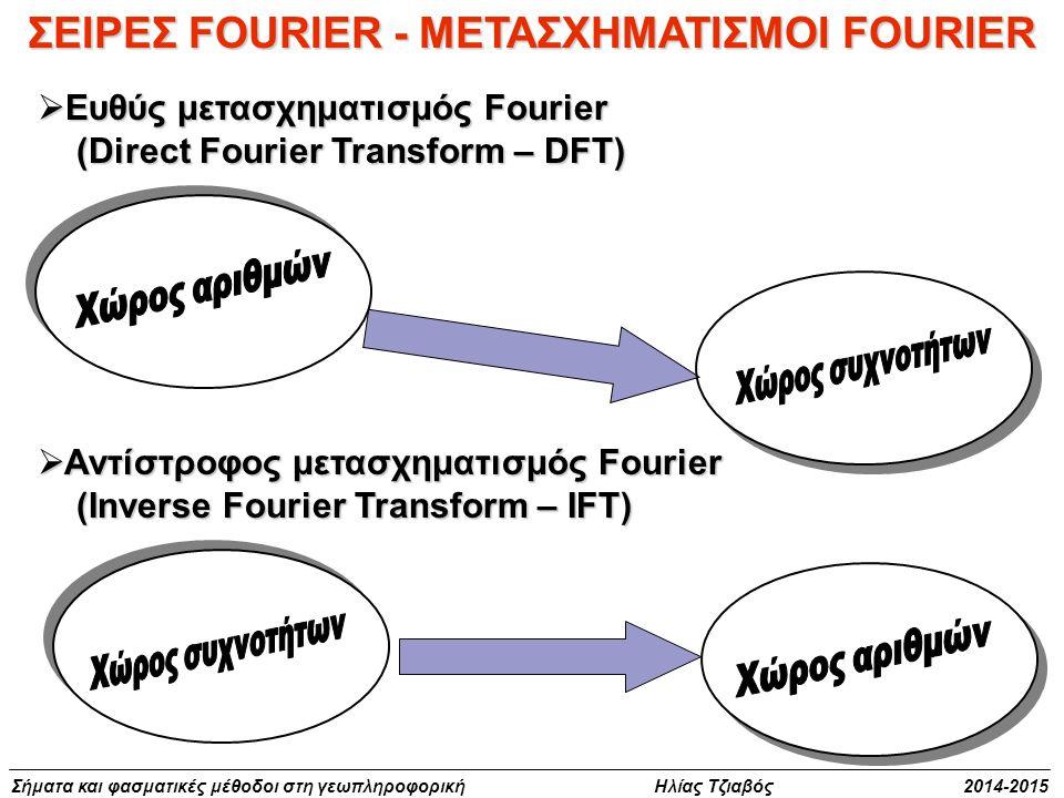 Σήματα και φασματικές μέθοδοι στη γεωπληροφορική Ηλίας Τζιαβός 2014-2015 ΣΕΙΡΕΣ FOURIER - ΜΕΤΑΣΧΗΜΑΤΙΣΜΟΙ FOURIER  Ευθύς μετασχηματισμός Fourier (Dir