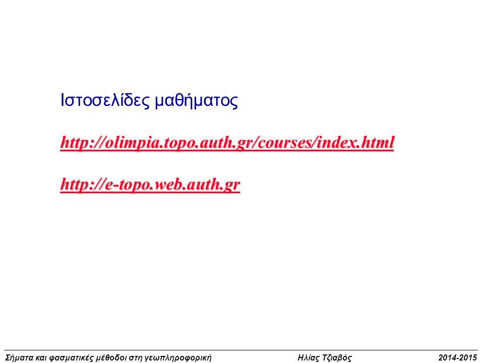 Σήματα και φασματικές μέθοδοι στη γεωπληροφορική Ηλίας Τζιαβός 2014-2015 Παρατηρήσεις και σήματα t f(t) Φυσικό μέγεθος (ομαλό = χαμηλές συχνότητες) t y(t) = f(t) + n(t) Παρατήρηση με πρόσθετο θόρυβο (υψηλές συχνότητες) t Εκτίμηση = απομάκρυνση θορύβου (φιλτράρισμα υψηλών συχνοτήτων) ΑΝΑΛΥΣΗ ΔΕΔΟΜΕΝΩΝ f(t)  f(t)