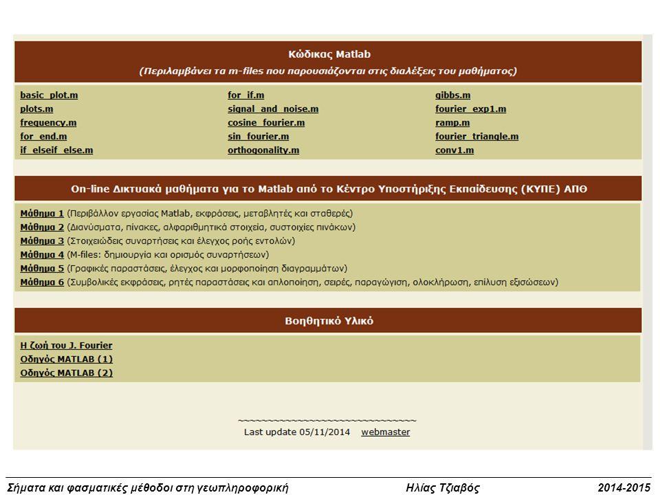  Παραδόσεις μαθήματος  Σημειώσεις  Λογισμικό MATLAB  Θέμα – Άσκηση στη νησίδα TopoLab (παράδοση θέματος 14/01/2015) 5%  Ασκήσεις (παράδοση 14/01/2015) 5%  Πρόοδος (19/11/2014) 10% - 1 Μονάδα Οι πρόοδοι δεν είναι υποχρεωτικές και λειτουργούν αποκλειστικά επικουρικά στον τελικό βαθμό  Τελική γραπτή εξέταση 80% Θέματα εργαστηρίου, τεύχη ασκήσεων και πρόοδοι προηγούμενων ετών δεν ισχύουν, πρέπει να επαναληφθούν Υποχρεώσεις μαθήματος