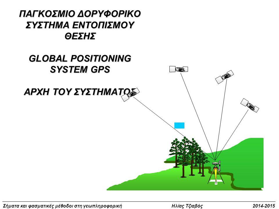 Σήματα και φασματικές μέθοδοι στη γεωπληροφορική Ηλίας Τζιαβός 2014-2015 ΠΑΓΚΟΣΜΙΟ ΔΟΡΥΦΟΡΙΚΟ ΣΥΣΤΗΜΑ ΕΝΤΟΠΙΣΜΟΥ ΘΕΣΗΣ GLOBAL POSITIONING SYSTEM GPS Α