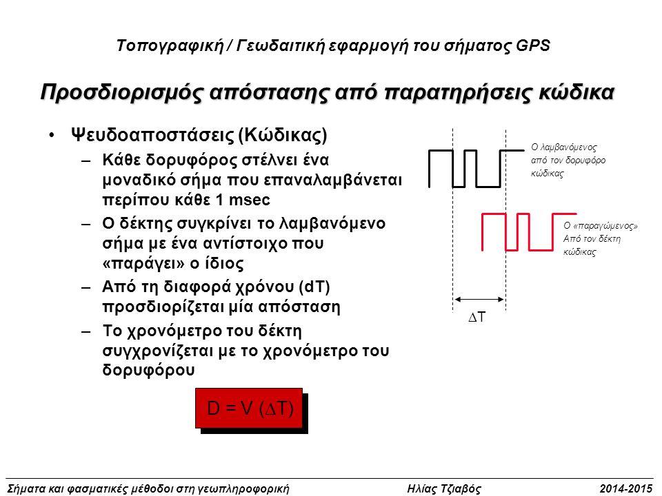 Σήματα και φασματικές μέθοδοι στη γεωπληροφορική Ηλίας Τζιαβός 2014-2015 Προσδιορισμός απόστασης από παρατηρήσεις κώδικα D = V (  T) Ψευδοαποστάσεις