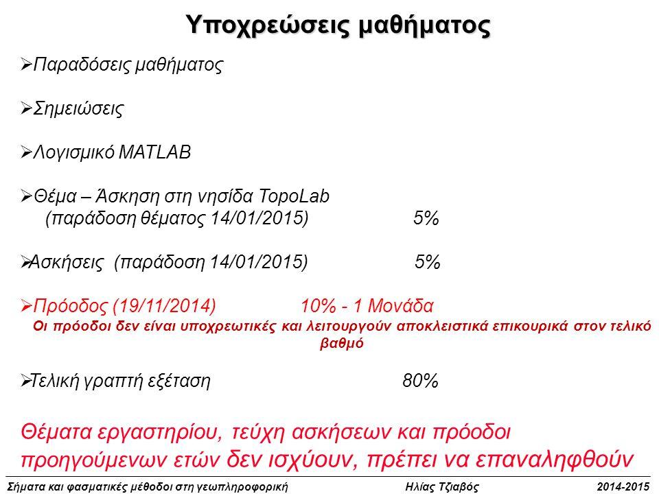  Παραδόσεις μαθήματος  Σημειώσεις  Λογισμικό MATLAB  Θέμα – Άσκηση στη νησίδα TopoLab (παράδοση θέματος 14/01/2015) 5%  Ασκήσεις (παράδοση 14/01/