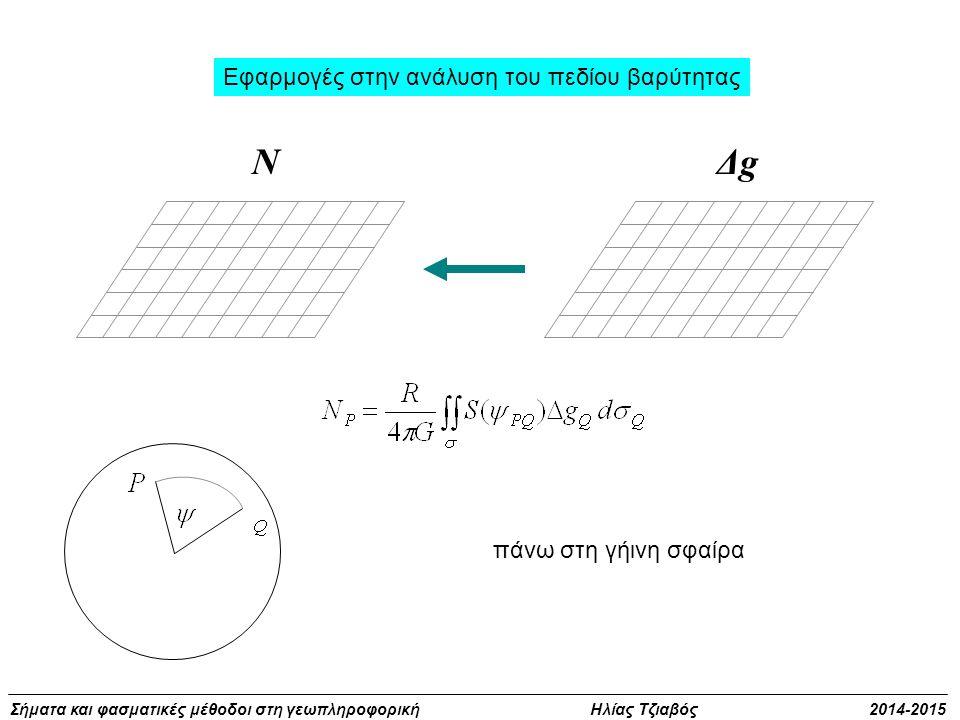 Σήματα και φασματικές μέθοδοι στη γεωπληροφορική Ηλίας Τζιαβός 2014-2015 Εφαρμογές στην ανάλυση του πεδίου βαρύτητας ΔgΔgN πάνω στη γήινη σφαίρα